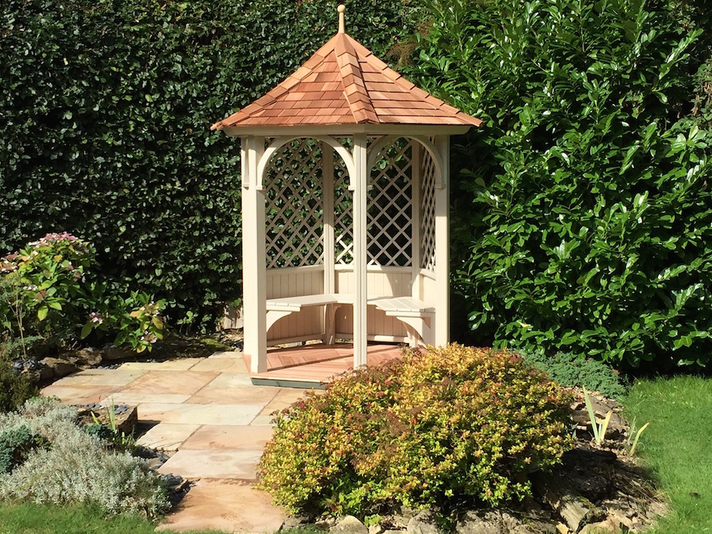 1 8 metre six sided painted gazebo stan fairbrother for 8 sided gazebo plans