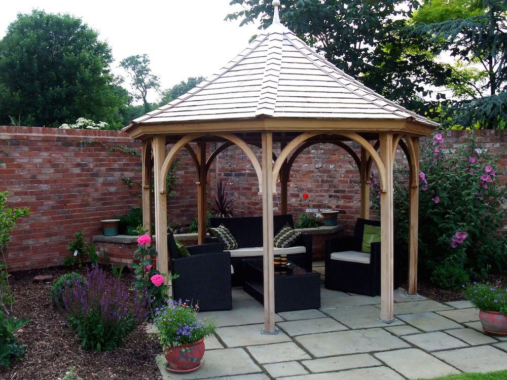 3 metre eight sided open gazebo stan fairbrother garden for Outside garden seating area